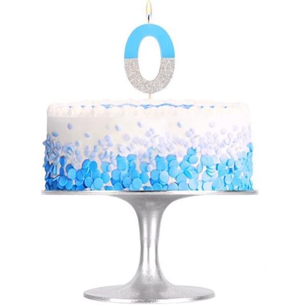 Vela Aniversário Azul Pastel e Glitter Prateado, 7 cm