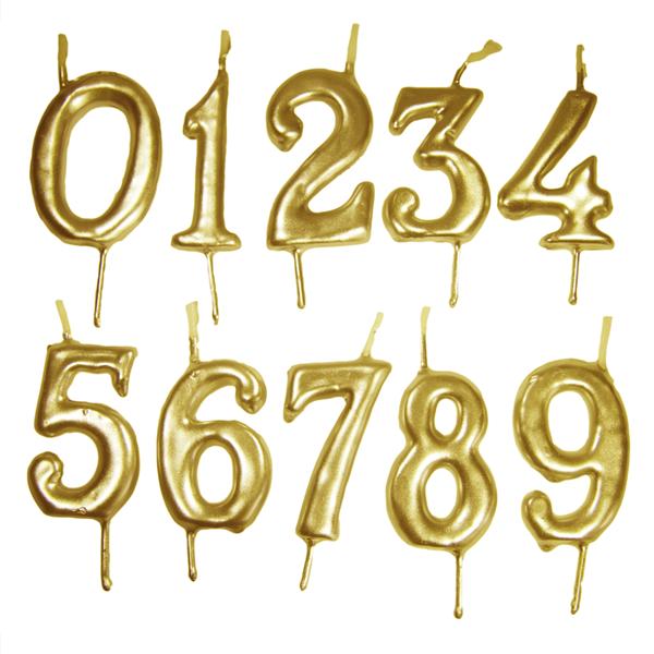 Vela Aniversário Dourada, 6cm