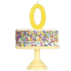 Vela Aniversário Glitter Amarelo, 12 cm