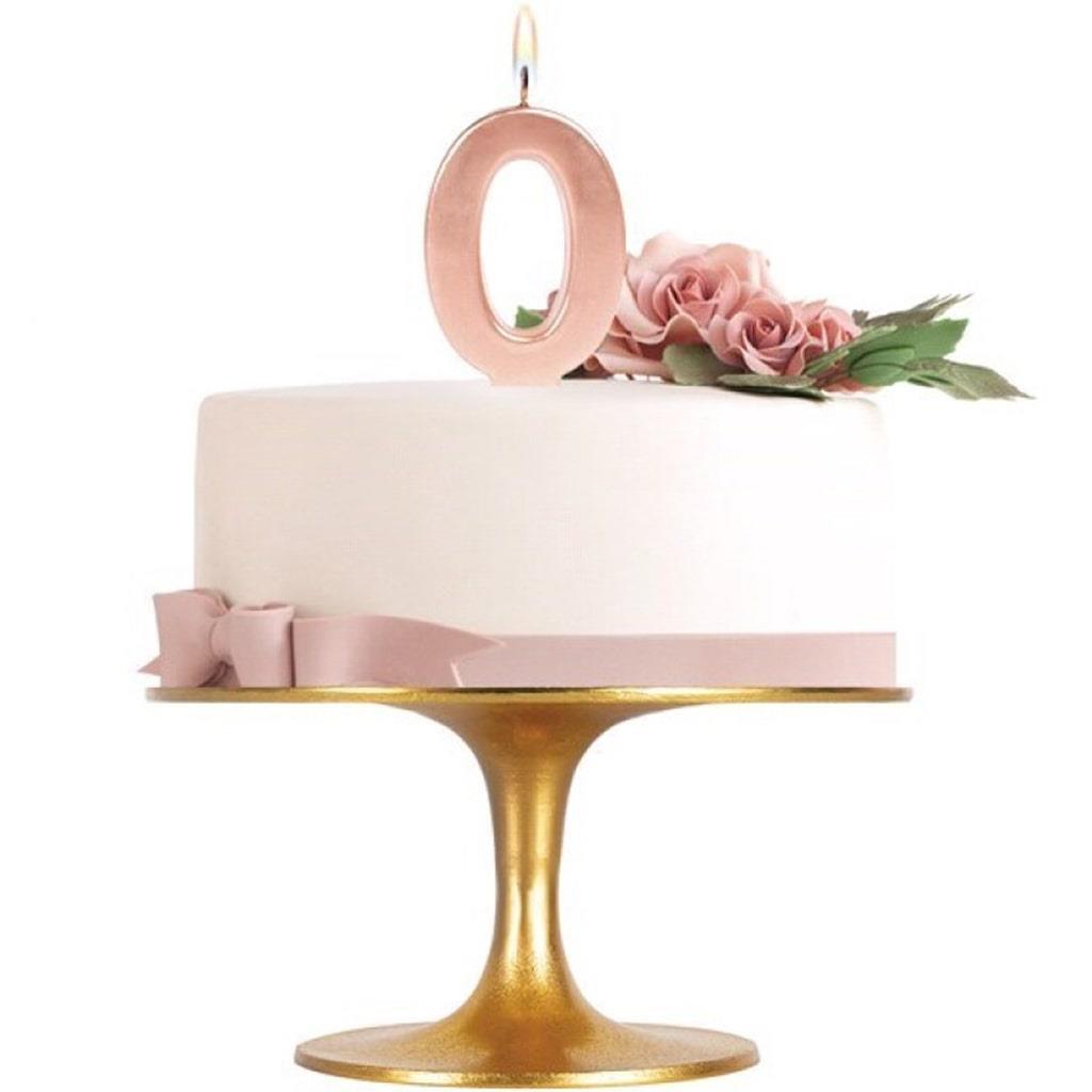Vela Aniversário Rosa Gold, 8 cm