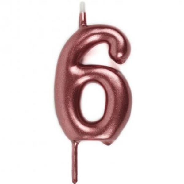 Vela Aniversário Rosa Gold, 6 cm
