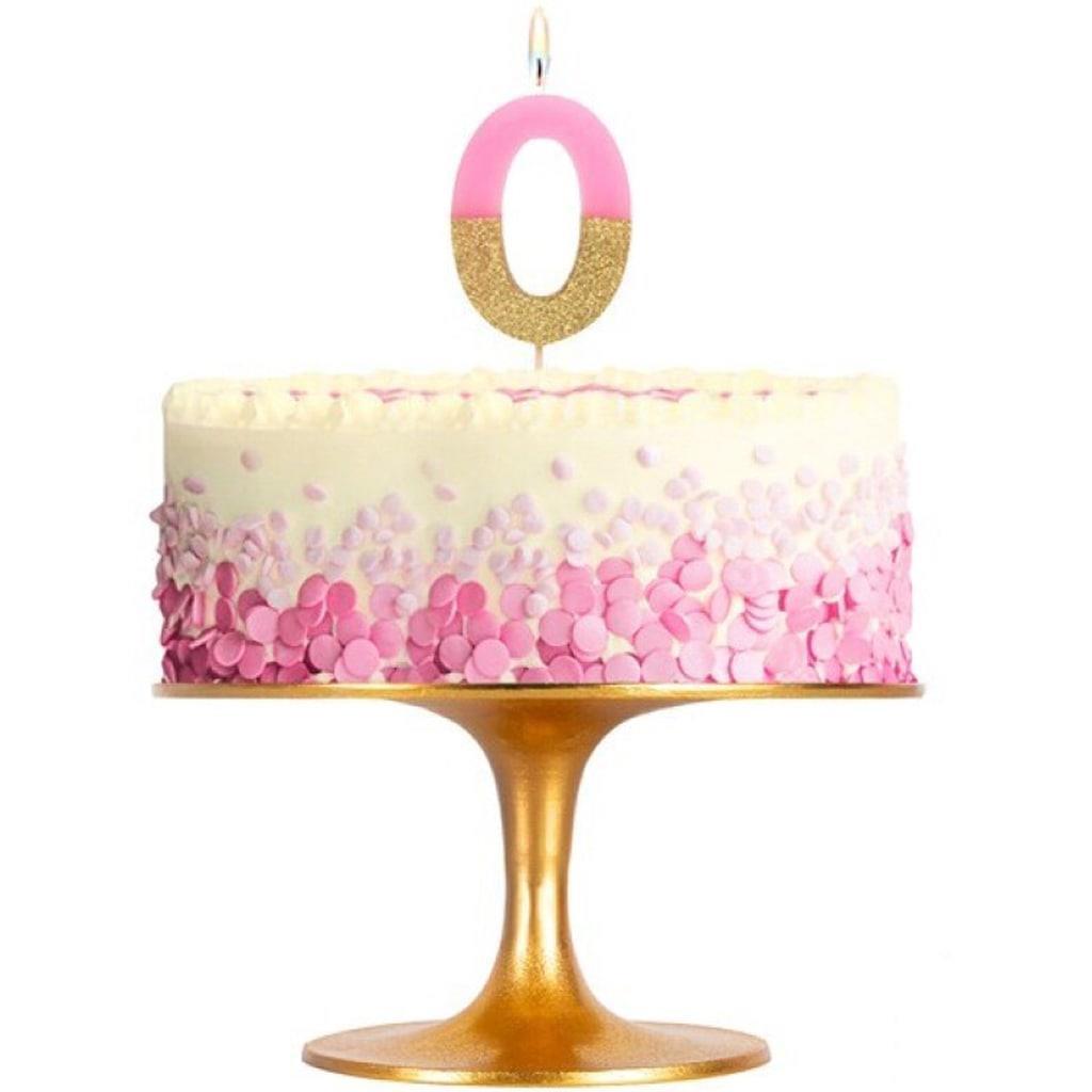 Vela Aniversário Rosa Pastel e Glitter Dourado, 7 cm