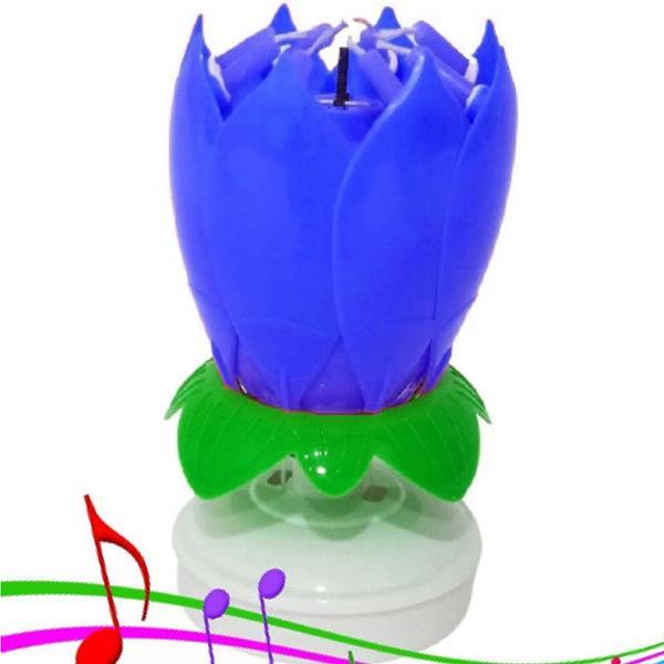 Vela Flor Azul com Repuxo Sem Fumo