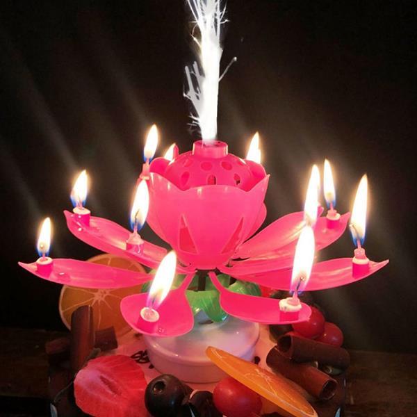 Vela Flor Rosa com Repuxo Sem Fumo