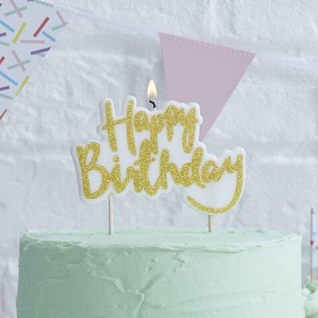 Vela Happy Birthday Dourado