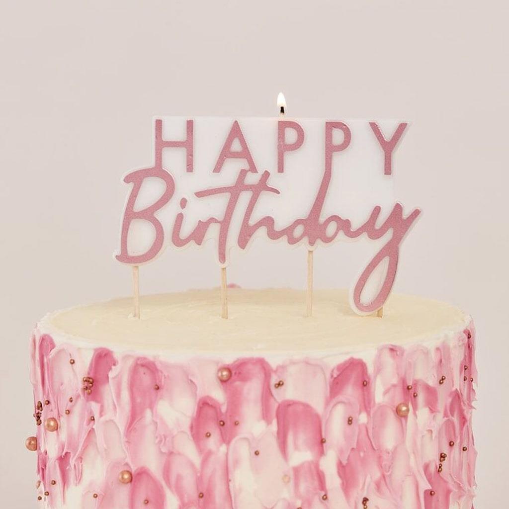 Vela Happy Birthday Rosa Gold