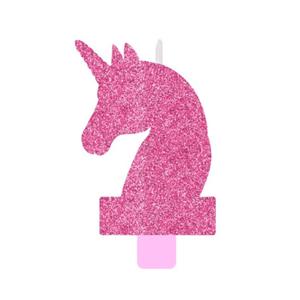 Vela Unicórnio Mágico Rosa com Purpurina, 13 Cm