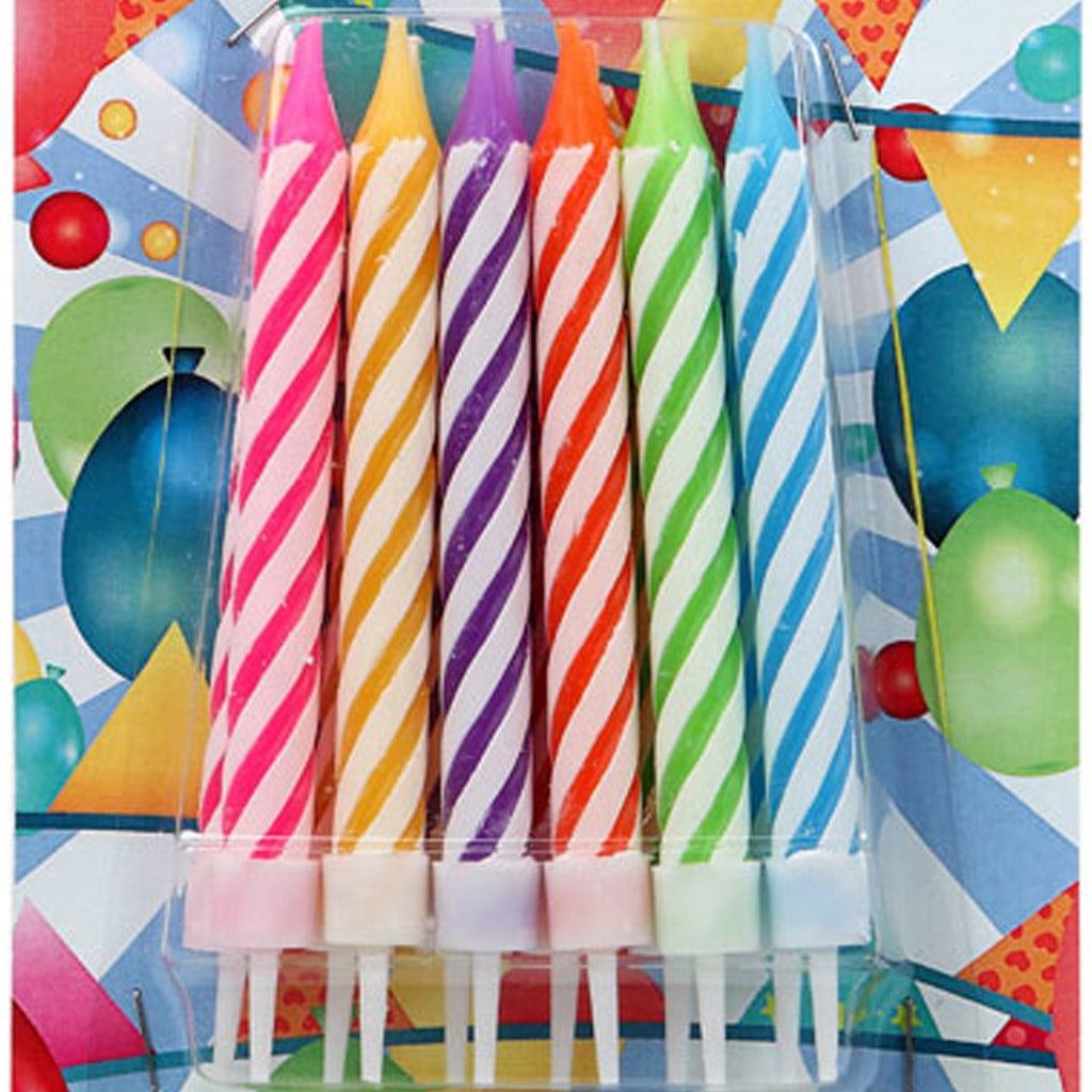 Velas às Riscas Multicolor, 12 unid.