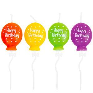 Velas Balões Coloridos Happy Birthday, 4 unid.