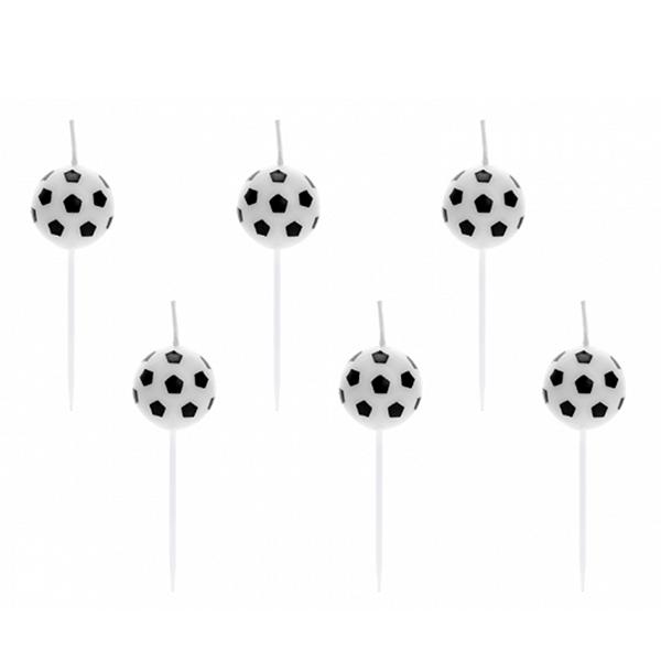 Velas Bolas de Futebol, 6 Unid.