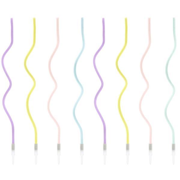 Velas Espiral Cores Pastel, 8 unid.
