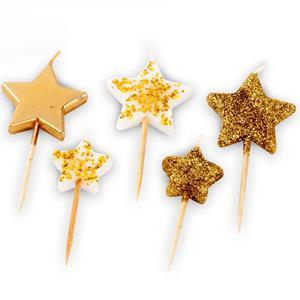 Velas Estrelas Douradas e com Purpurina, 5 unid.