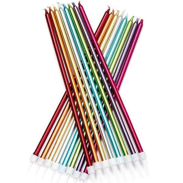 Velas Extra Altas Multicolor Metalizado, 16 unid.