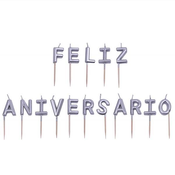 Velas Feliz Aniversário Prateadas