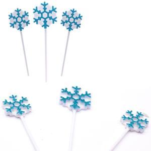 Velas Flocos de Neve Azul com Purpurina, 3 unid.