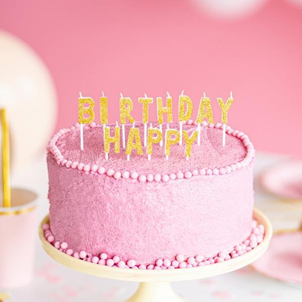 Velas Happy Birthday Dourado