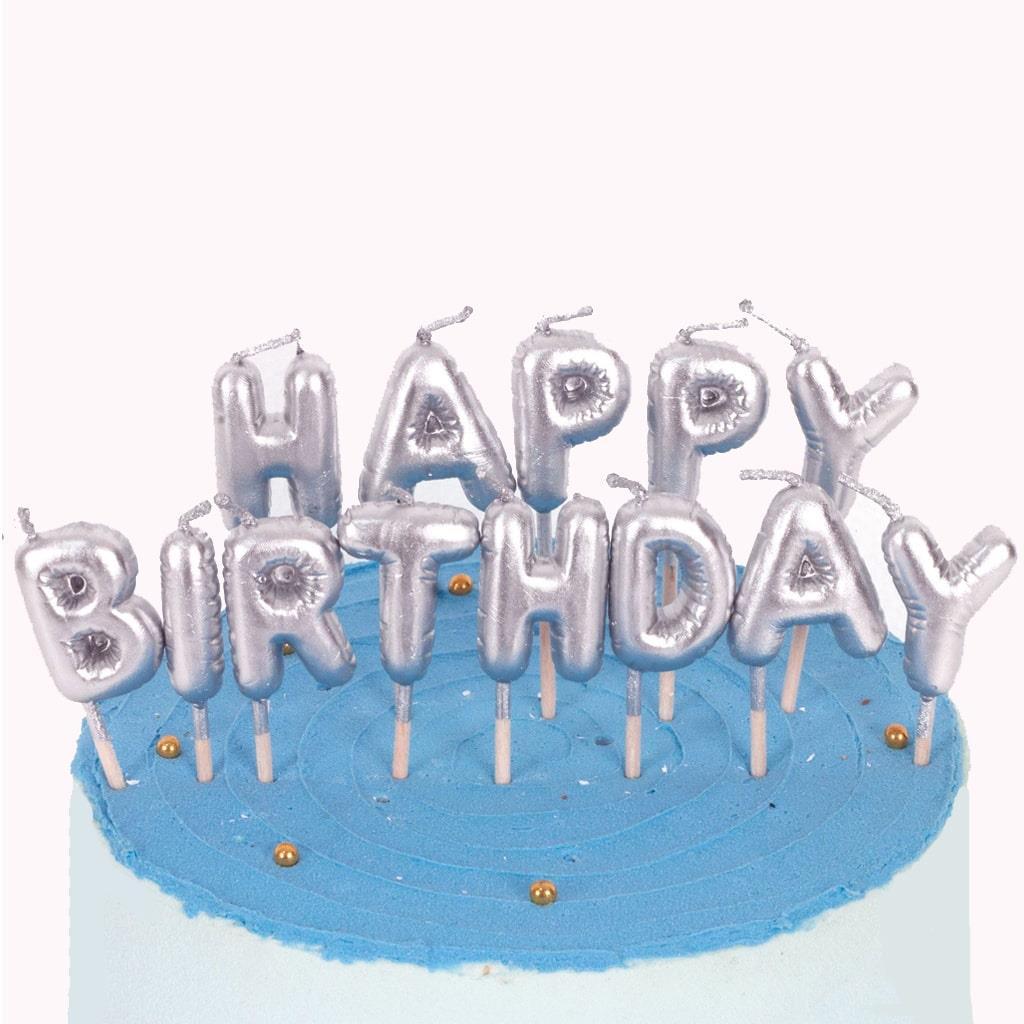 Velas Happy Birthday Prateado