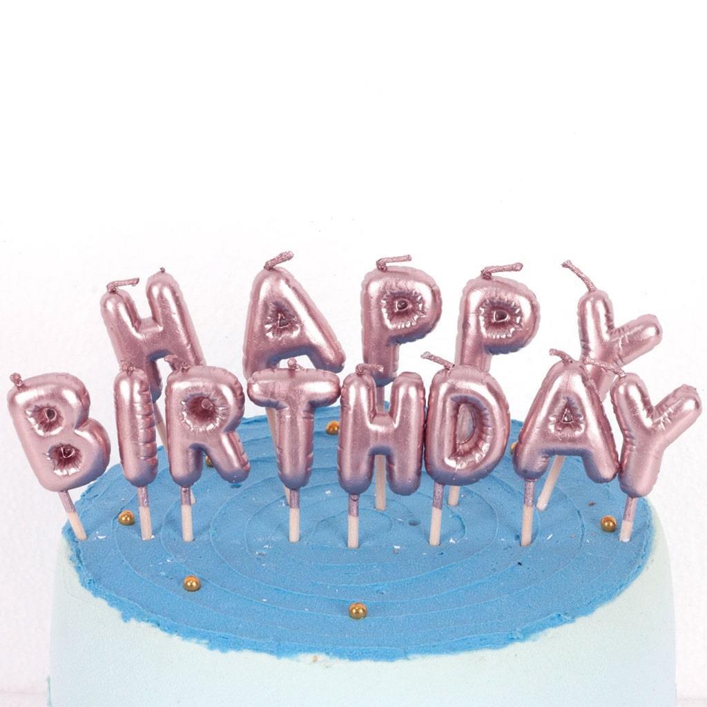 Velas Happy Birthday Rosa Gold