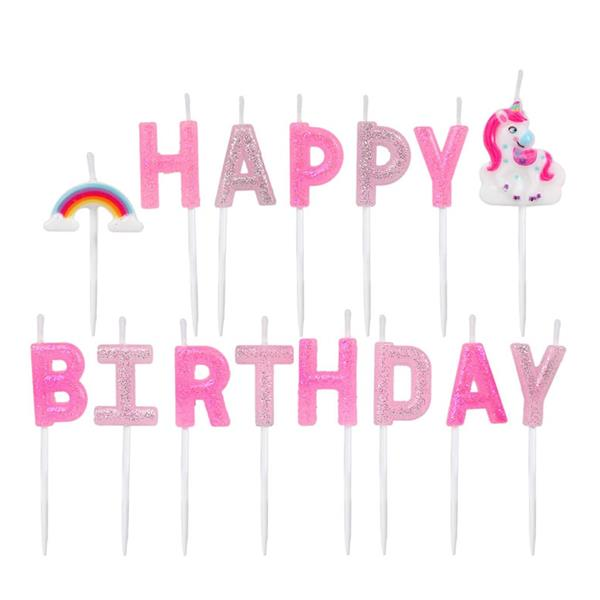 Velas Happy Birthday Unicórnio