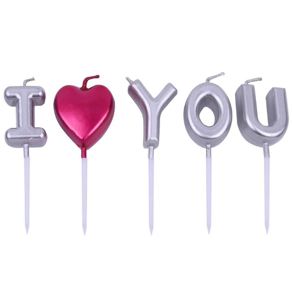 Velas I Love You Prateadas