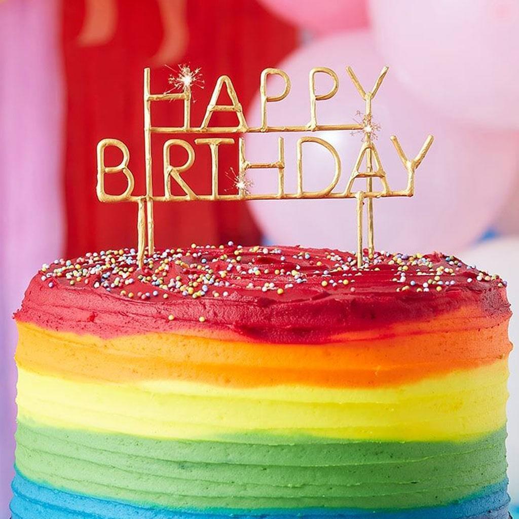 Velas Sparkle Happy Birthday Dourado