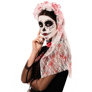 Véu de Noiva Sangrento com Rosas, 60 cm