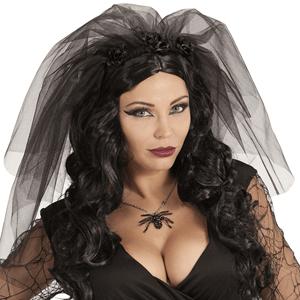 Véu de Viúva Negra em Tule Preto
