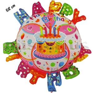 Balão Bolo Aniversário Happy Birthday
