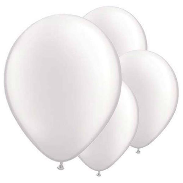 Balão Branco Metalizado 30 cm, 50 Unid.
