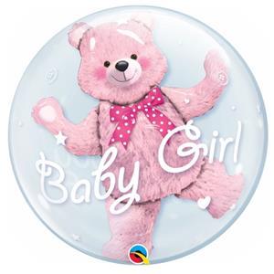 Balão Bubble Baby Girl Urso Rosa