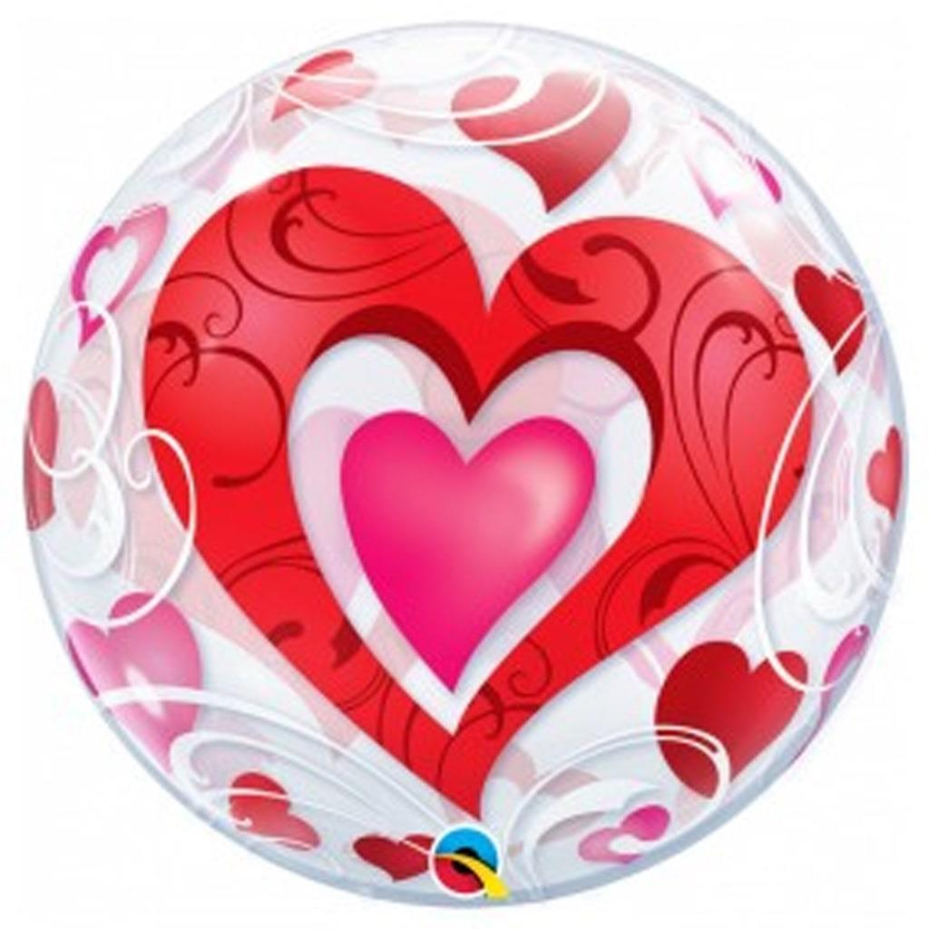 Balão Bubble Corações Vermelhos