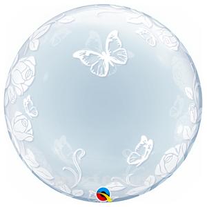 Balão Bubble Flores e  Borboletas, 61cm