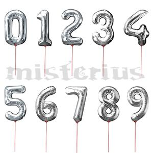 Balão em forma de Número Prata, 30 cm