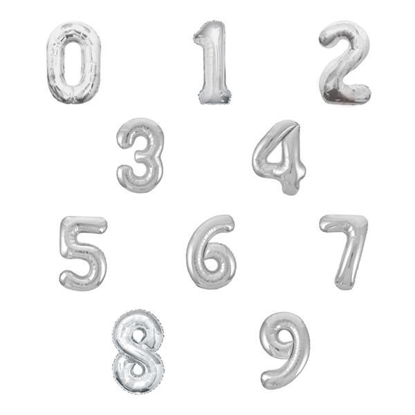 Balão em Forma de Número Prata