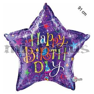 Balao Estrela Happy Birthday Lilas Holog