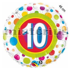 Balão Foil 10 Anos Bolinhas Coloridas
