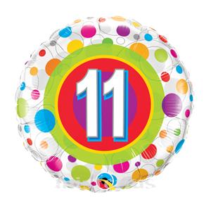 Balão Foil 11 Anos Bolinhas Coloridas