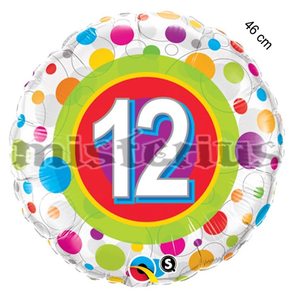 Balao Foil 12 ano bolinhas coloridas