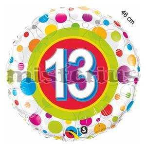 Balao Foil 13 ano bolinhas coloridas