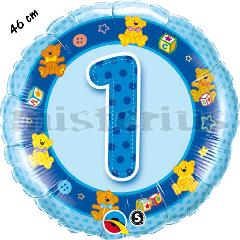 Balão Foil 1 Ano Azul Ursos