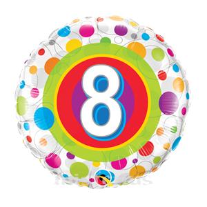 Balão Foil 8 Ano Bolinhas Coloridas