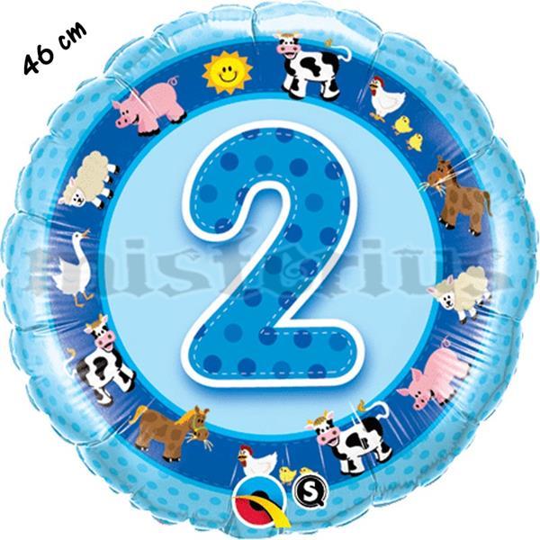 Balão Foil 2 Anos Animais Azul