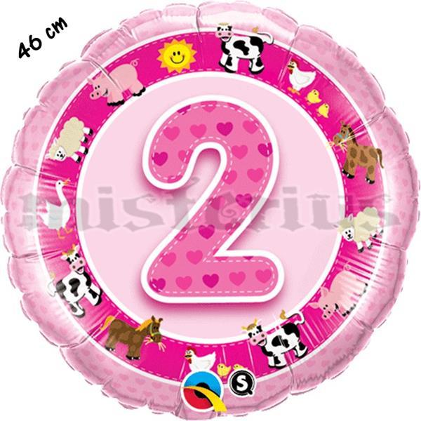 Balão Foil 2 Anos Animais Rosa