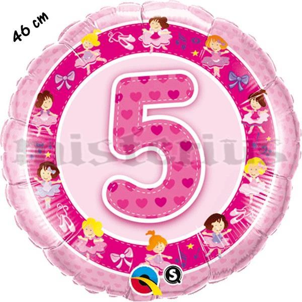 Balão Foil 5 Anos Bailarinas Rosa