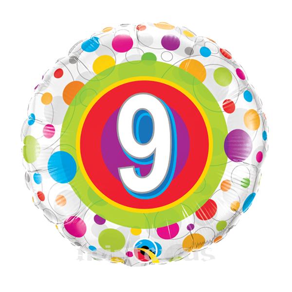 Balao Foil 9 anos bolinhas coloridas