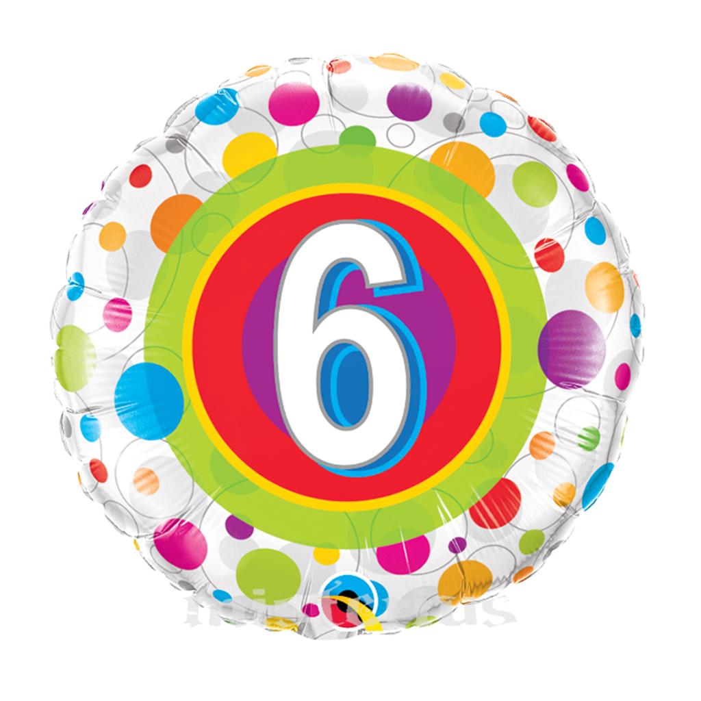 Balão Foil 6 Anos Bolinhas Coloridas