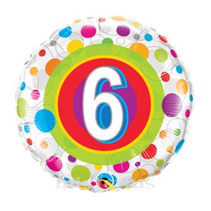 Balao Foil 6 Anos Bolinhas Coloridas