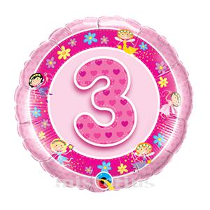 Balão Foil 3 Anos Fadas Rosa