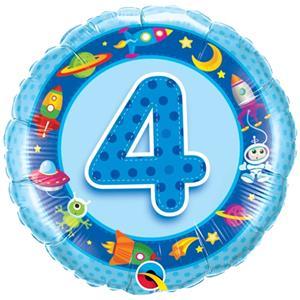 Balão Foil 4 Anos Naves Azul