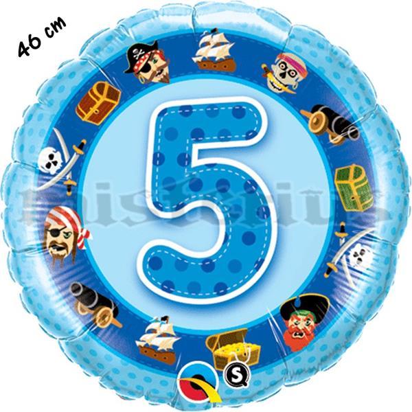 Balão Foil 5 Anos Piratas Azul